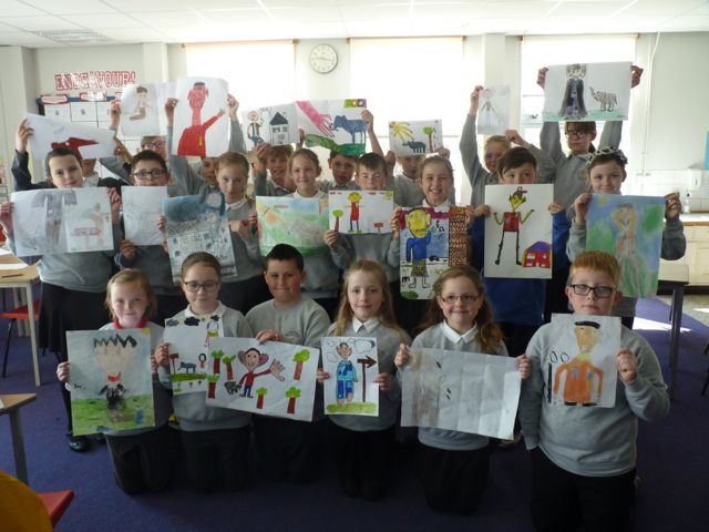 Port Ellen pupils with their illustrations.